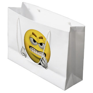 Yellow angry emoticon or smiley large gift bag