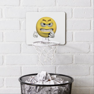 Yellow angry emoticon or smiley mini basketball hoop