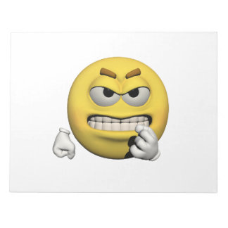 Yellow angry emoticon or smiley notepad