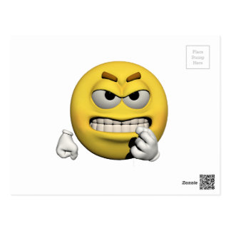 Yellow angry emoticon or smiley postcard