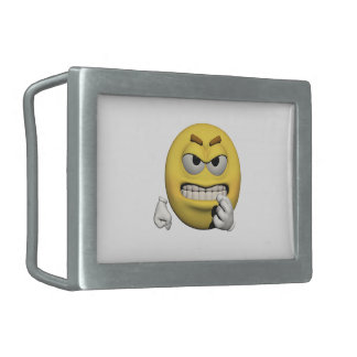 Yellow angry emoticon or smiley rectangular belt buckles