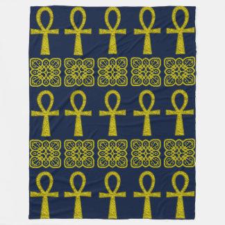 Yellow Ankh Fleece Blanket