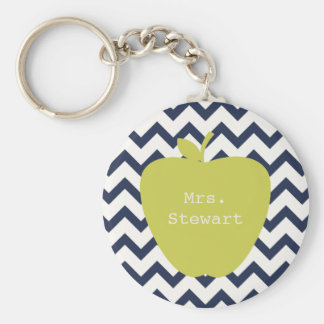 Yellow Apple & Navy Chevron Teacher Key Ring