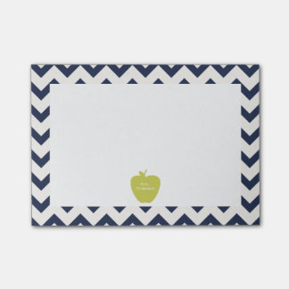 Yellow Apple Navy Chevron Teacher Post-it® Notes