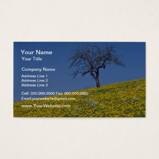 yellow Apple tree and dandelion meadow flowers Business Card
