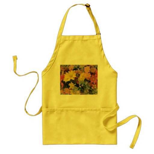 Yellow apron with floral motif