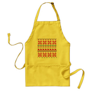 Yellow apron with Nordic folk pattern