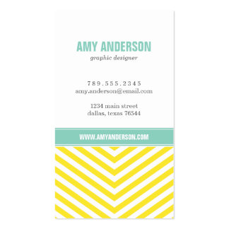 Yellow & Aqua Modern Chevron Stripes Double-Sided Standard Business Cards (Pack Of 100)