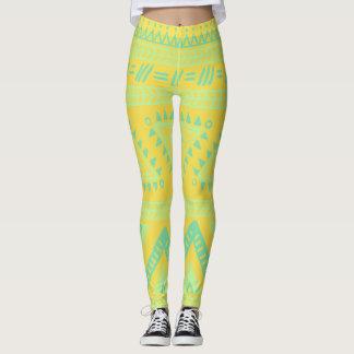 Yellow Aqua Tribal Pattern Leggings