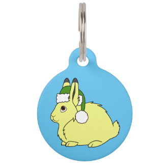 Yellow Arctic Hare with Christmas Green Santa Hat Pet ID Tag