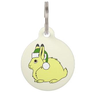 Yellow Arctic Hare with Christmas Green Santa Hat Pet Tag