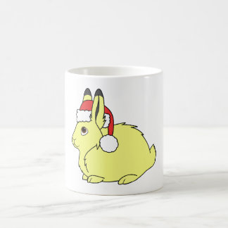 Yellow Arctic Hare with Christmas Red Santa Hat Basic White Mug