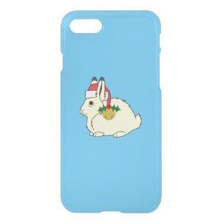 Yellow Arctic Hare with Santa Hat & Gold Bell iPhone 7 Case