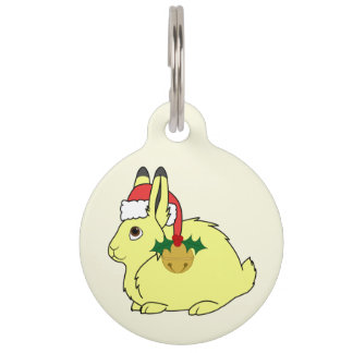 Yellow Arctic Hare with Santa Hat & Gold Bell Pet ID Tags