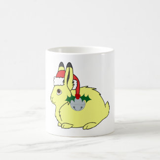 Yellow Arctic Hare with Santa Hat & Silver Bell Basic White Mug