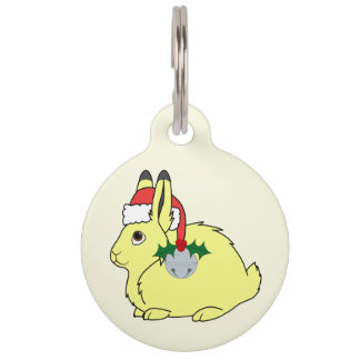 Yellow Arctic Hare with Santa Hat & Silver Bell Pet Nametags
