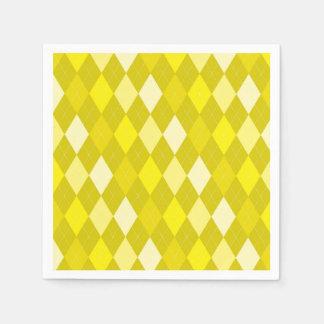 Yellow argyle pattern disposable napkin