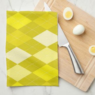 Yellow argyle pattern kitchen towel