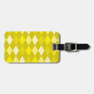 Yellow argyle pattern luggage tag