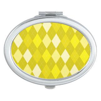 Yellow argyle pattern makeup mirrors