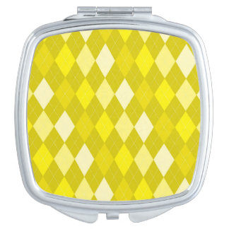 Yellow argyle pattern mirrors for makeup