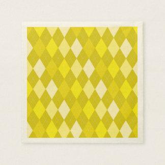 Yellow argyle pattern paper napkin