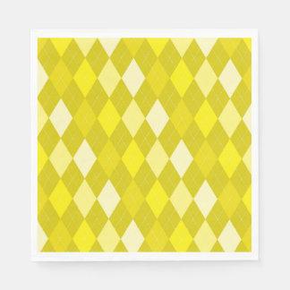 Yellow argyle pattern paper serviettes