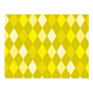 Yellow argyle pattern postcard