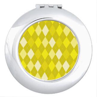 Yellow argyle pattern travel mirror
