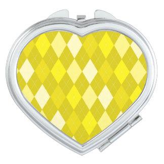 Yellow argyle pattern travel mirrors