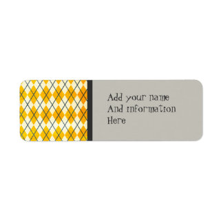 Yellow Argyle Return Address Label