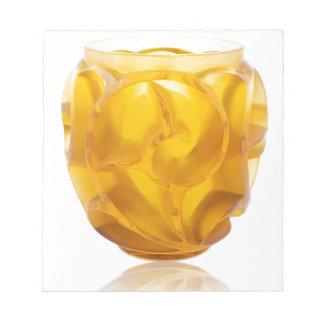 Yellow Art Deco Swirl Vase Notepad