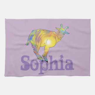 Yellow Art Goat on Things, Design Add Your Name Tea Towel