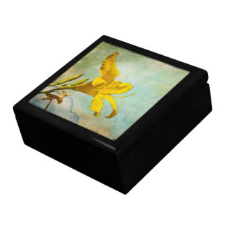 Yellow Asiatic Lily - Decorative Box Large Square Gift Box