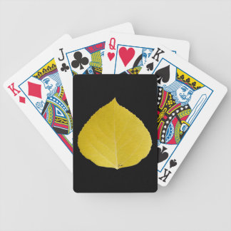 Yellow Aspen Leaf #5 Bicycle Playing Cards
