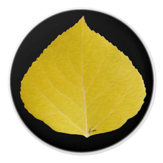 Yellow Aspen Leaf #5 Ceramic Knob