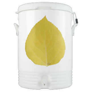 Yellow Aspen Leaf #5 Drinks Cooler