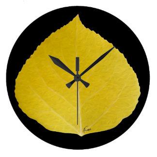 Yellow Aspen Leaf #5 Large Clock