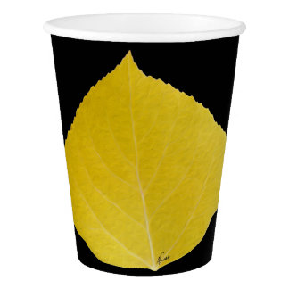 Yellow Aspen Leaf #5 Paper Cup