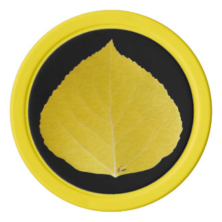 Yellow Aspen Leaf #5 Poker Chips