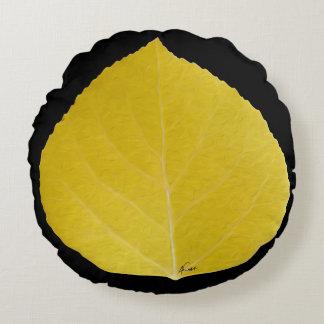 Yellow Aspen Leaf #5 Round Cushion