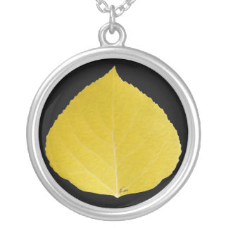 Yellow Aspen Leaf #5 Silver Plated Necklace