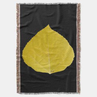Yellow Aspen Leaf #5 Throw Blanket
