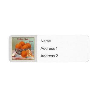 Yellow Aster Brand Oranges Return Address Label