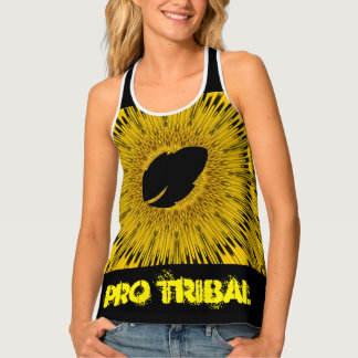 Yellow Athletic Pro Tribal Racerback Tank Top
