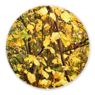 YELLOW AUTUMN LEAVES CERAMIC KNOB