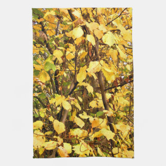 YELLOW AUTUMN LEAVES KITCHEN TOWEL