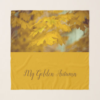 Yellow autumn maple leaves. Add text. Scarf