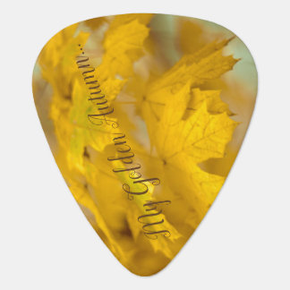 Yellow autumn maple leaves. Add you text or name. Guitar Pick