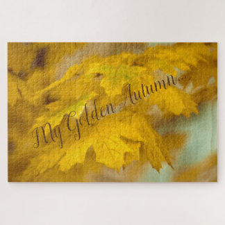 Yellow autumn maple leaves. Add you text or name. Jigsaw Puzzle